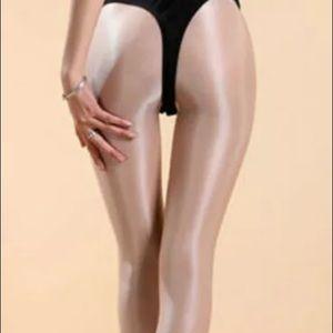 Shiny leggings pantyhose stockings nude cream